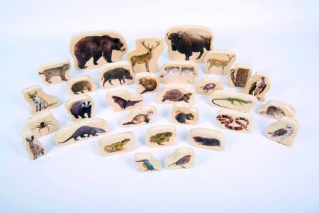 Blocuri de lemn cu animale sălbatice, TickiT, set de 301