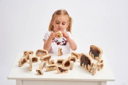 Blocuri de lemn cu animale sălbatice, TickiT, set de 303
