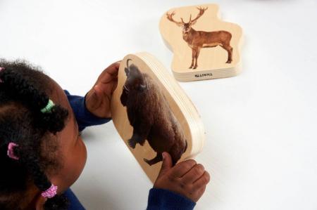 Blocuri de lemn cu animale sălbatice, TickiT, set de 302