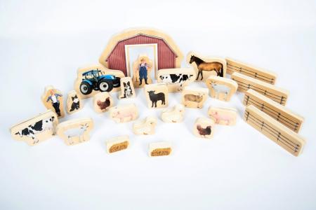 Blocuri din lemn Ferma, TickiT, set de 254