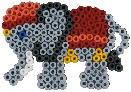 Elefantul - Mărgele de călcat Hama Midi înfoliat (în bășică) 450 de mărgele și 1 planșetă1