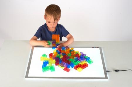 Cuburi de construcții transparente, set de 90 piese, multicolor3