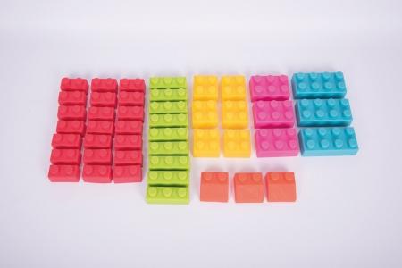 Cuburi de plastic moale, TickiT, set de 45 cuburi, multicolor4