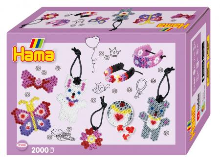 FASHION - 2000 mărgele HAMA MIDI în cutie cadou MIC0