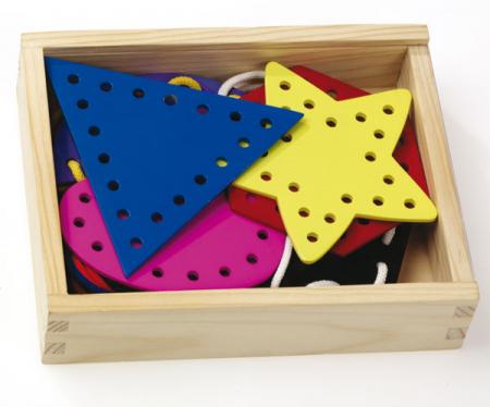 Forme geometrice din lemn - joc de înșirare [3]