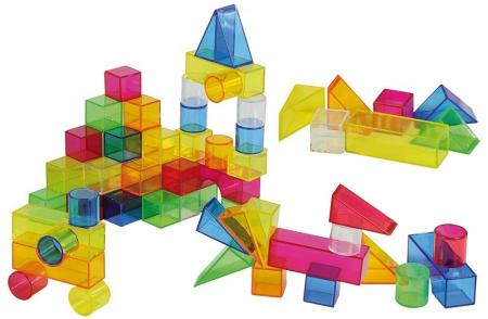 Set de 50 buc cuburi de construcții COLORATE transparente din plastic0