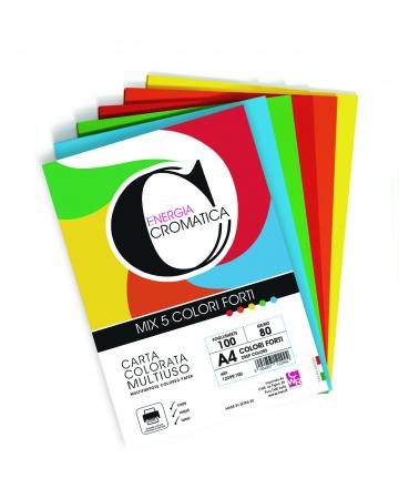 Hârtie colorată A4, set de 100, 5 culori intense [1]