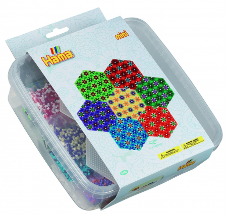 HEXAGON - 10500 margele HAMA MINI in cutie de plastic0