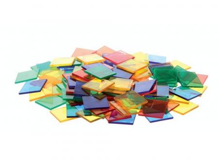 Joc sortare pătrate transparente, Edx Education, set de 300 bucăți0