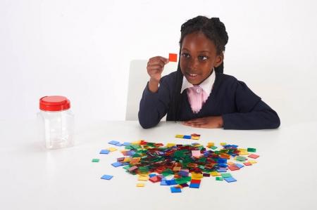 Joc sortare pătrate transparente, Edx Education, set de 300 bucăți1