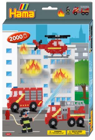 Set de 2000 buc mărgele de călcat Hama Midi cu 1 planșetă în cutie de cadou cu agățător Pompierii0