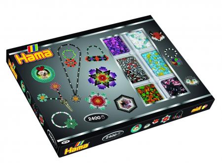 Mărgele cu dungi 2400 buc HAMA MIDI + 2 planșete în cutie1