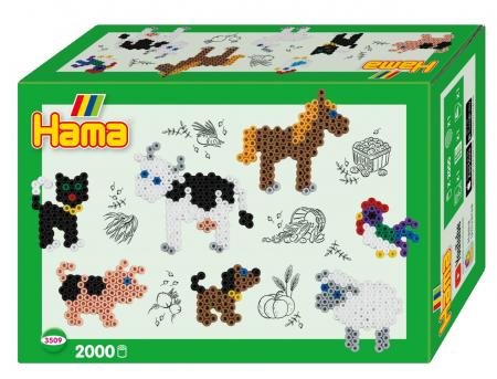 Margele de calcat HAMA MIDI Animale Domestice - 2000 margele + 1 plansete de lucru impachetat in cutie0