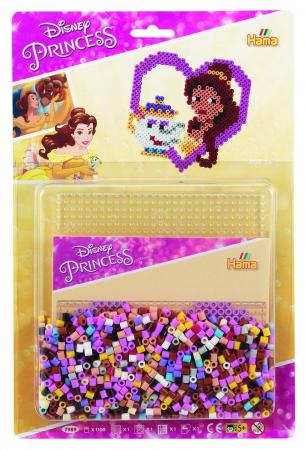 Set de 1100 mărgele Hama Midi și planșetă pătrat în bășică, Prințesele Disney0