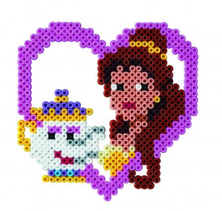 Set de 1100 mărgele Hama Midi și planșetă pătrat în bășică, Prințesele Disney1