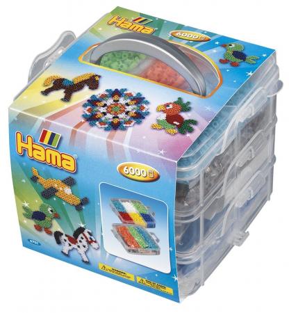Margele HAMA MIDI 6000 buc in cutie de depozitare MIC cu 3 plansete0
