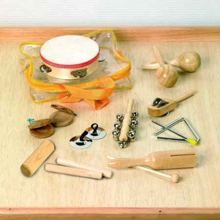 Set 10 de instrumente muzicale de joaca de percutie in sacosa transparenta0
