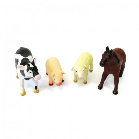 Set de 4 animale domestice din cauciuc moale dimensiune medie 15cm2
