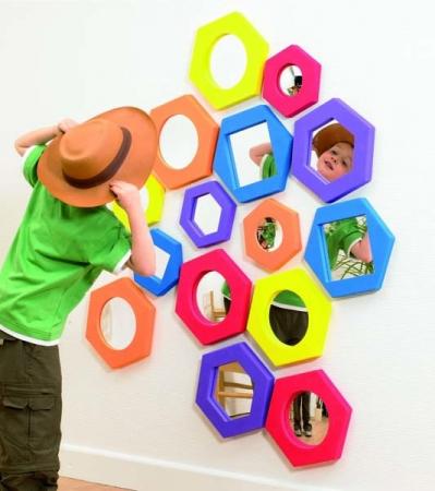 Set de 5 oglinzi hexagonale cu rama de spuma2