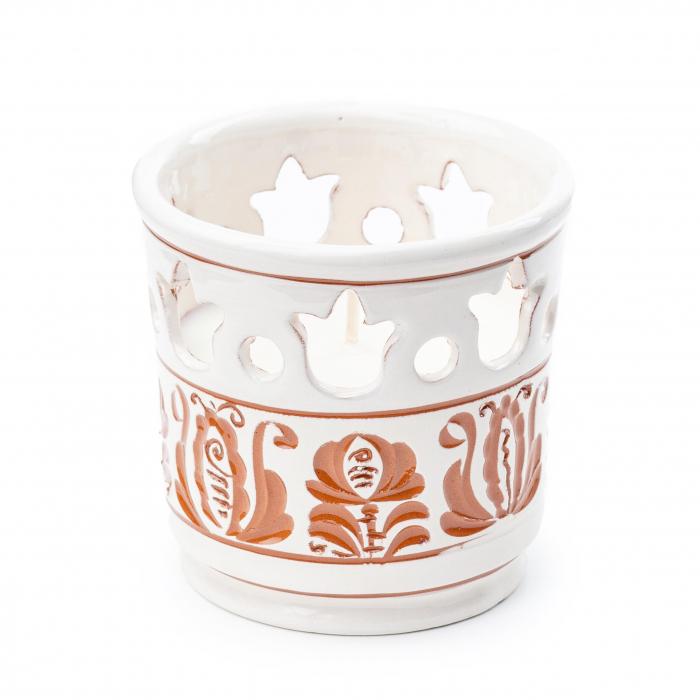 Lumanare din Ceara de Soia si Eucalipt - Felinar Ceramica 0