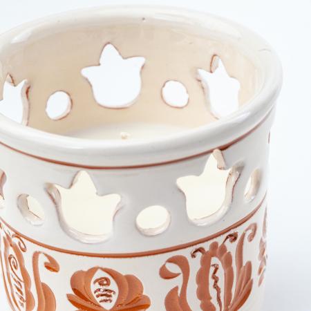 Lumanare din Ceara de Soia si Eucalipt - Felinar Ceramica1