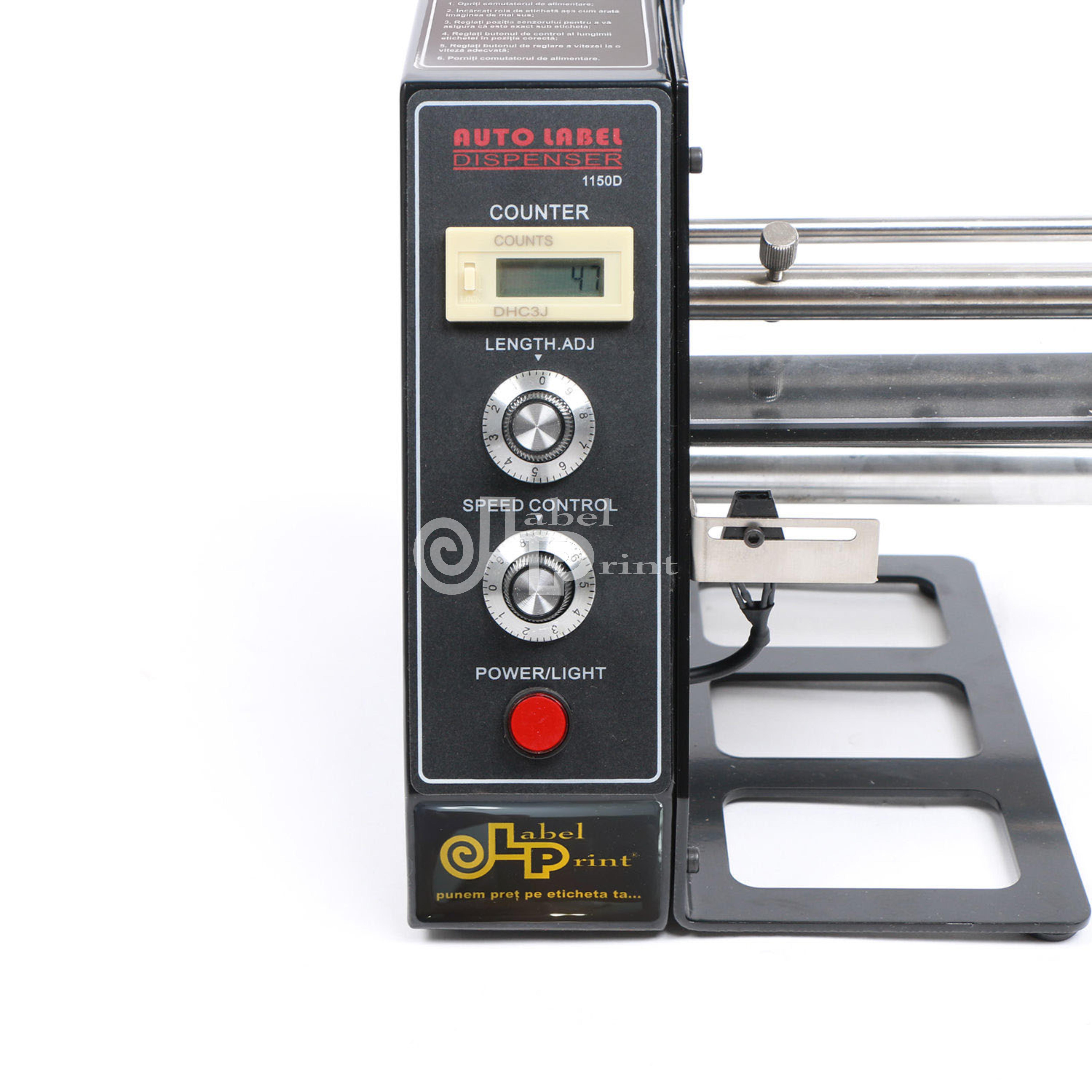 Dispenser semi-automat etichete, 220V, afisaj LED, negru 2