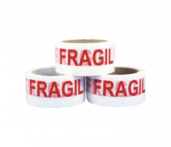 """Banda adeziva, Alba, imprimata """"FRAGIL"""", 50mm x 66M [1]"""