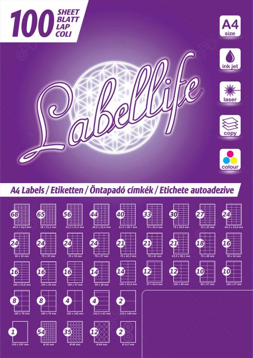 Etichete autoadezive A4 dreptunghiulare, 105 x 42.40 mm, 14 etichete / coala A4 autoadeziva, 100 coli autoadezive / top [5]