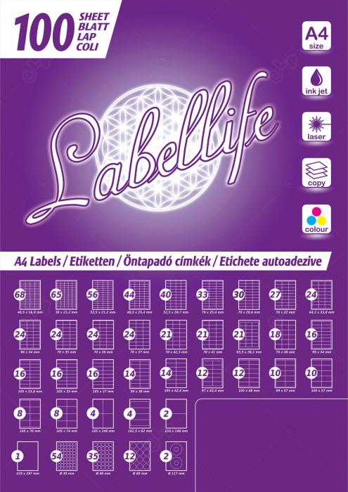 Etichete autoadezive A4 dreptunghiulare, 38 x 21.20 mm, 65 etichete / coala A4 autoadeziva, 100 coli autoadezive / top [5]