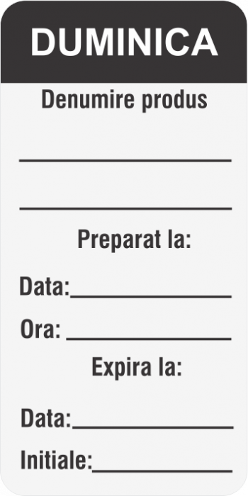 Etichete personalizate, DUMINICA - Zilele Saptamanii 30x60 mm [2]