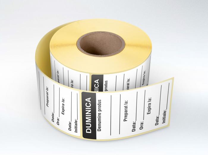 Etichete personalizate in rola, Duminica - Zilele Saptamanii 30 x 60 mm, 1000 buc/rola [0]