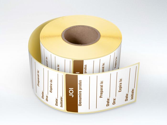 Etichete personalizate in rola, Joi - Zilele Saptamanii 30 x 60 mm, 1000 buc/rola [0]