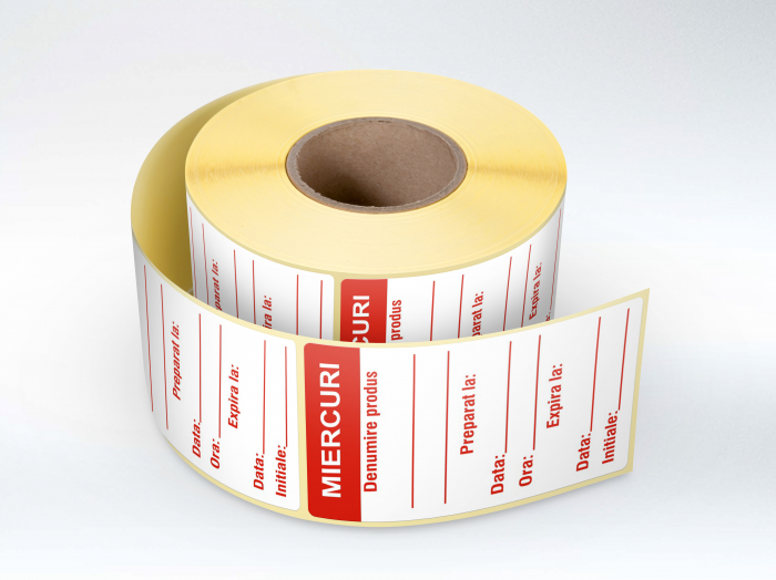 Etichete personalizate in rola, Miercuri - Zilele Saptamanii 30 x 60 mm, 1000 buc/rola [0]