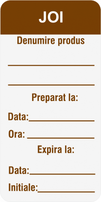 Etichete personalizate, JOI - Zilele Saptamanii 30x60 mm [1]