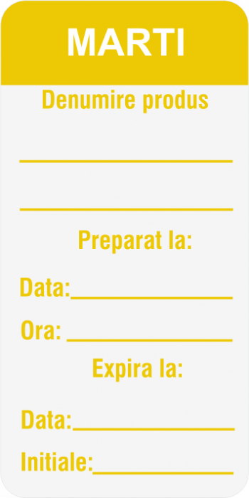 Etichete personalizate, MARTI - Zilele Saptamanii 30x60 mm [2]