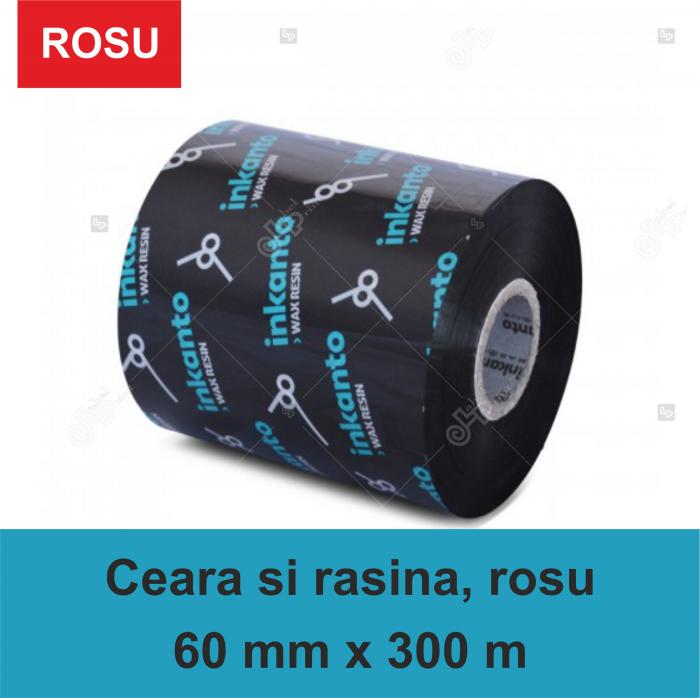 Ribon  Inkanto APR558R , ceara si rasina, rosu, 60mmx300M, OUT 0