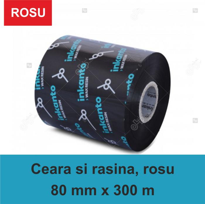 Ribon Inkanto APR558R , ceara si rasina, rosu, 80mmx300M, OUT 0
