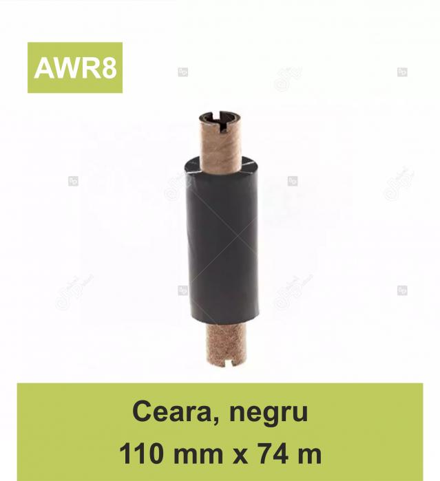 Ribon ARMOR Inkanto AWR8, ceara (wax), negru, 110mmX74M, OUT 0