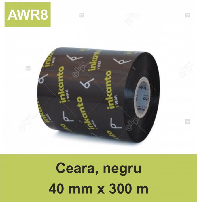 Ribon ARMOR Inkanto AWR8, ceara (wax), negru, 40 mm x 300 M, OUT 0