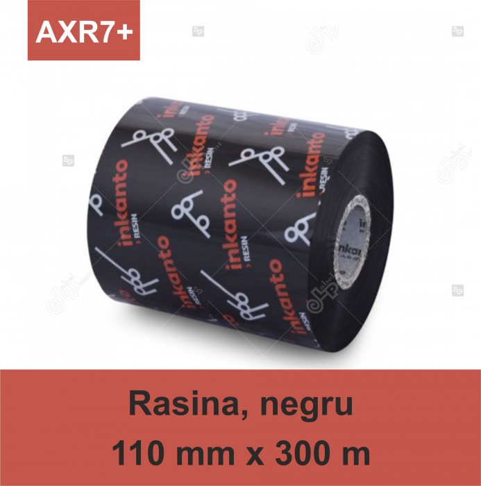 Ribon ARMOR Inkanto AXR7+, rasina (resin), negru, 110 mm x 300 M, OUT 0