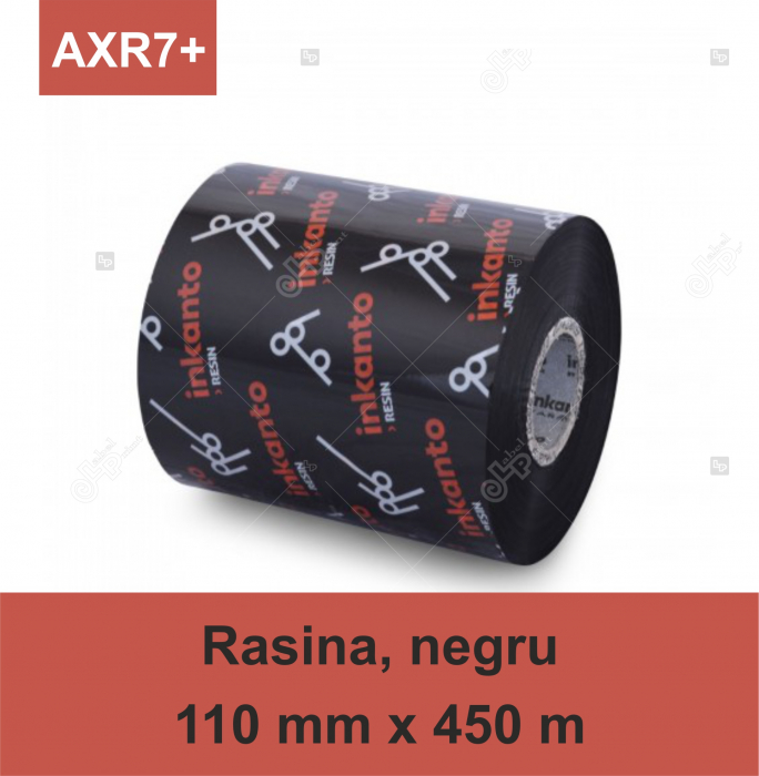 Ribon ARMOR Inkanto AXR7+, rasina (resin), negru, 110 mm x 450 M, OUT 0