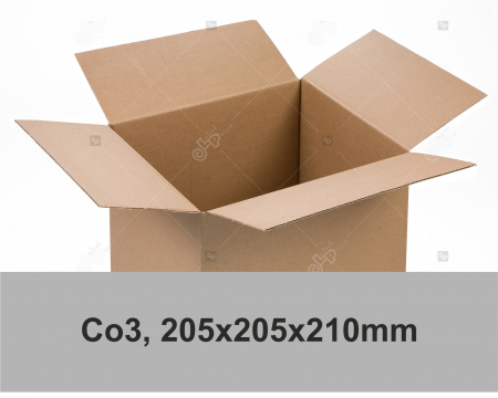 Cutie carton ondulat, natur, CO3, 205x205x210 mm0