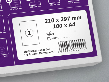 Etichete autoadezive A4 dreptunghiulare, 210 x 297 mm, 1 eticheta / coala A4 autoadeziva, 100 coli autoadezive / top [0]