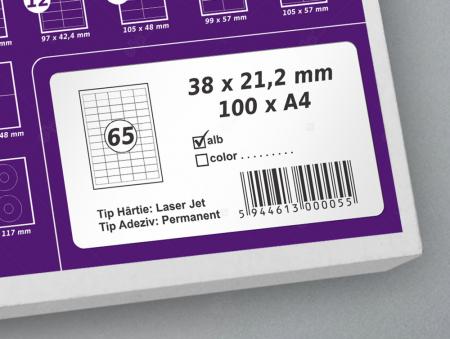 Etichete autoadezive A4 dreptunghiulare, 38 x 21.20 mm, 65 etichete / coala A4 autoadeziva, 100 coli autoadezive / top [0]