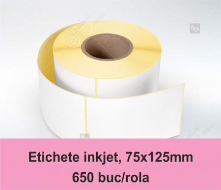 Etichete inkjet (JetGloss) in rola 75x125mm, adeziv permanent, 650 buc/rola (compatibile Epson)0