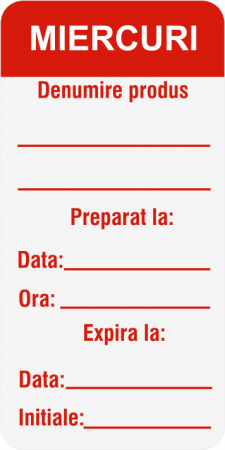 Etichete personalizate, MIERCURI - Zilele Saptamanii 30x60 mm [2]