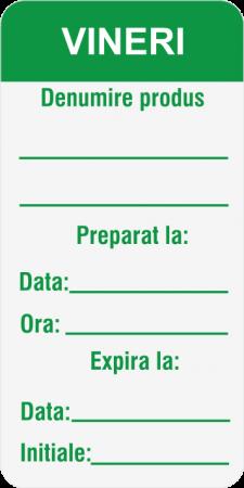 Etichete personalizate, VINERI - Zilele Saptamanii 30x60 mm [2]