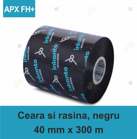 Ribon ARMOR Inkanto APX FH+, ceara si rasina (wax&resin), negru, 40mmx300M, OUT0