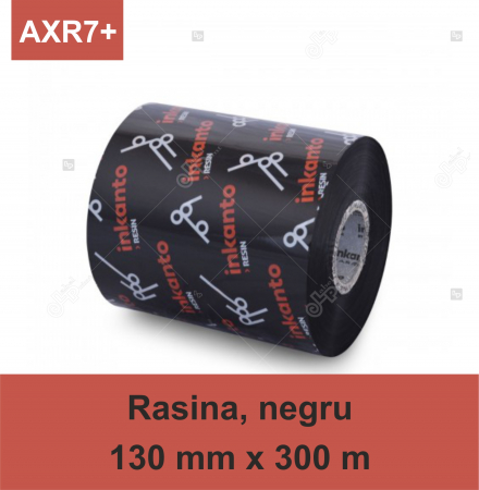 Ribon ARMOR Inkanto AXR7+, rasina (resin), negru, 130 mm x 300 M, OUT0