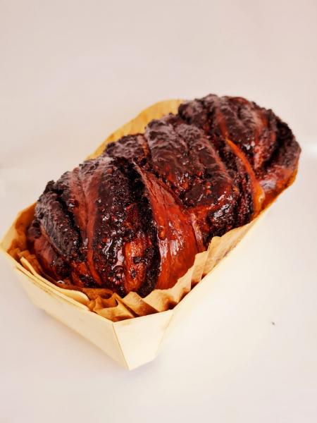 Cozonac artizanal insiropat in vinars, cu umlutura de nuca si cacao - 0,65kg 0